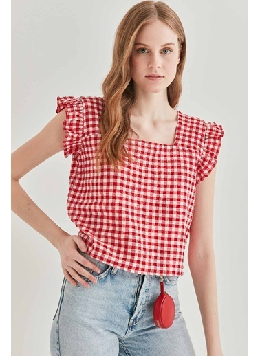 Vitrin VİTRİN Pötikare Kare Yaka Crop Bluz Kırmızı